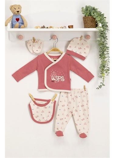 U.S. Polo Assn. Lisanslı Pembe Bebek 5'Li Hastane Çıkış Seti Pembe